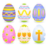 Easter Eggs. A set of six easter eggs icons in different colorful designs. Shadows placed on separate layer vector illustration