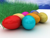 Easter eggs. Colorful easter eggs and nature Royalty Free Stock Photo
