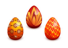 Easter eggs. Set of three glossy easter eggs Royalty Free Stock Photos