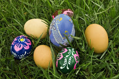 Easter eggs. On the grass Stock Image