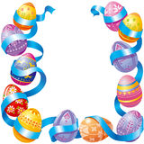 Easter eggs. With blue ribbon Stock Photo