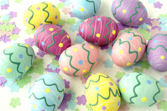 Easter eggs. Colorful easter eggs and spring confetti Royalty Free Stock Images