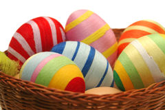 Easter eggs. Colorful easter eggs in the basket Stock Photo