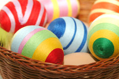 Easter eggs. Colorful easter eggs in the basket Stock Image