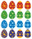 Easter eggs. Collection of Easter painted eggs isolated on white background Royalty Free Stock Images