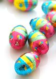 Easter Eggs. Chocolate easter eggs in colored foil Stock Photography