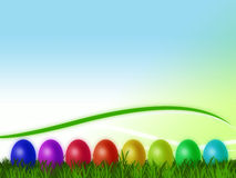 Easter Eggs. Different colored easter eggs on meadow Royalty Free Stock Image