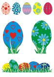 Easter-eggs. Easteregg in five different patterns and colors stock illustration