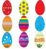Easter eggs. 9 vector easter egg designs Stock Image
