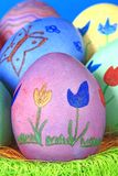 Easter eggs. Colorful Easter eggs painted with flowers and butterfly Stock Photo