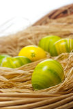 Easter eggs. Green and yellow colored Easter eggs arranged with natural hay Stock Image