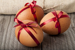 Easter eggs. On a wooden background Stock Images