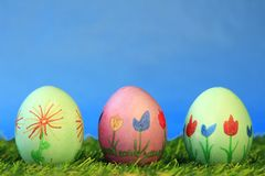 Easter eggs. Three colorful painted Easter eggs Stock Photo