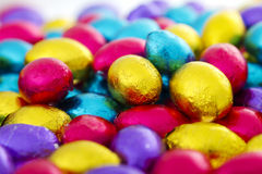 Easter eggs. Colourful chocolate eggs, ready for easter stock images