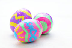 Easter eggs. Children paint colorful easter eggs Royalty Free Stock Images