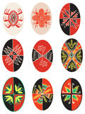 Easter eggs. Nine traditional easter egg illustrations Stock Photos