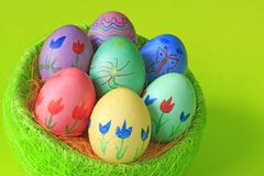 Easter eggs. Colorfully painted Easter eggs with floral motifs Royalty Free Stock Photography