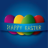 Easter eggs. Four colors easter eggs under blue streamer Royalty Free Stock Photography