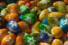 Easter eggs. In the basket stock photo