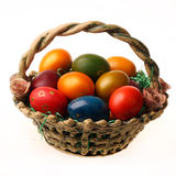 Easter eggs. In the bucket isolated on white  background Royalty Free Stock Photo