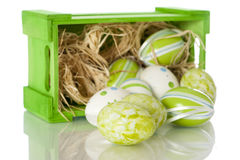 Easter eggs. In wooden box royalty free stock image
