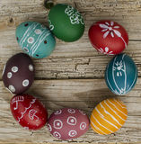 Easter eggs. Dyed Domestic Easter eggs on a wooden background Royalty Free Stock Image
