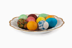Easter Eggs. A few Easter eggs lying on a white plate Stock Photography