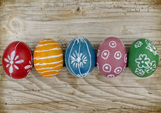 Easter eggs. Dyed Domestic Easter eggs on a wooden background Royalty Free Stock Photo