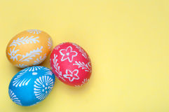 Easter eggs. Hand-decorated Easter eggs Stock Photos