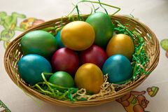 Easter eggs. A basket full with colored easter eggs Royalty Free Stock Images