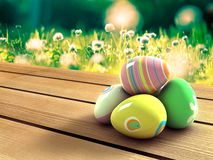 Easter eggs. Colorful Easter eggs on a table outside Royalty Free Stock Photography