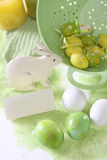 Easter eggs. Multicolored easter eggs on the green backgrown and rabbit Royalty Free Stock Photography