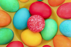 Easter eggs. Easter painted with coloured eggs on the yellow stand stock photos