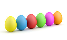 Easter eggs. Six easter eggs in colors Royalty Free Stock Image