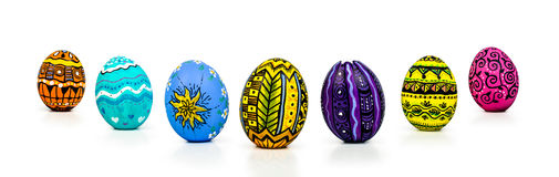 Easter Eggs. Perspective  on white background Stock Photo