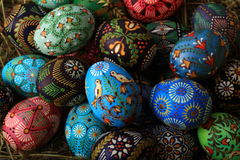 Easter eggs. Painting in beeswax.Vilnius.Lithuania Stock Photo