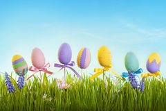 Easter eggs. On wooden sticks and green grass Royalty Free Stock Photography