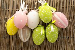 Easter eggs. Decorated Easter Eggs surrounded by bambu background Stock Photo