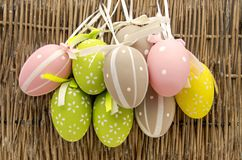 Easter eggs. Decorated Easter Eggs surrounded by bambu background Royalty Free Stock Photography