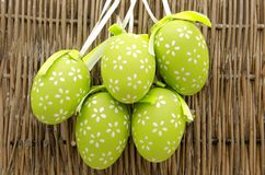 Easter eggs. Decorated Easter Eggs surrounded by bambu background Stock Photos