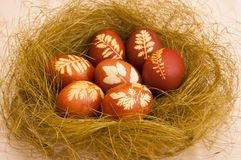 Easter eggs. Eggs with floral pattern in the nest Royalty Free Stock Photos