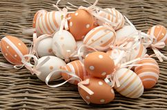 Easter eggs. Decorated Easter Eggs  surrounded by bambu background Royalty Free Stock Image
