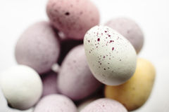 Easter eggs. Close-up of coloured edible chocolate easter eggs Stock Photo
