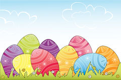 Easter eggs. Colorful Easter eggs in grass. Fully, easily illustration that can be used at any size. Included files: EPS 10, JPG. No transparencies royalty free illustration