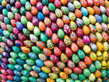 Easter eggs. Painted eggs are decorated by various techniques before Easter.The imitation of painted eggs are made of wood (on the picture),covered by lacquer Royalty Free Stock Images
