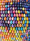 Easter eggs. Painted eggs are decorated by various techniques before Easter.The imitation of painted eggs are made of wood (on the picture),covered by lacquer Royalty Free Stock Photo