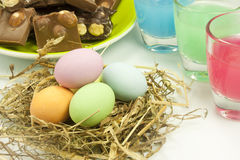 Easter eggs. Chocolate easter eggs in various colors Stock Image