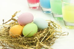 Easter eggs. Chocolate easter eggs in various colors Royalty Free Stock Photography