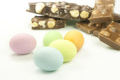 Easter eggs. Chocolate easter eggs in various colors Royalty Free Stock Images