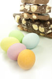 Easter eggs. Chocolate easter eggs in various colors Royalty Free Stock Photos